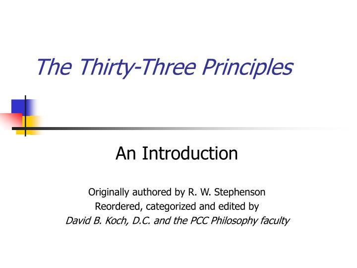The Thirty-Three Principles