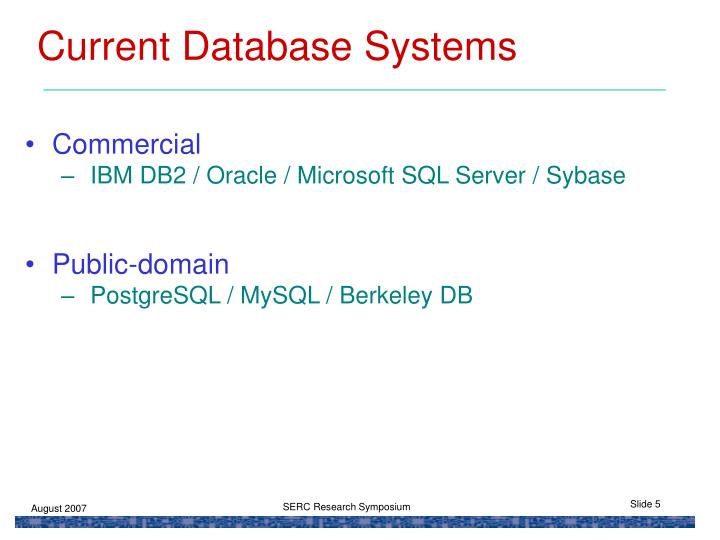 Current Database Systems