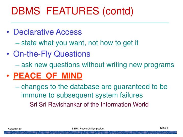 DBMS  FEATURES (contd)