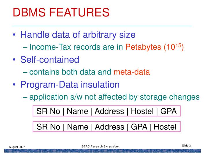Dbms features