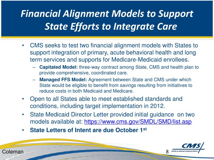 Financial Alignment Models to Support State Efforts to Integrate Care