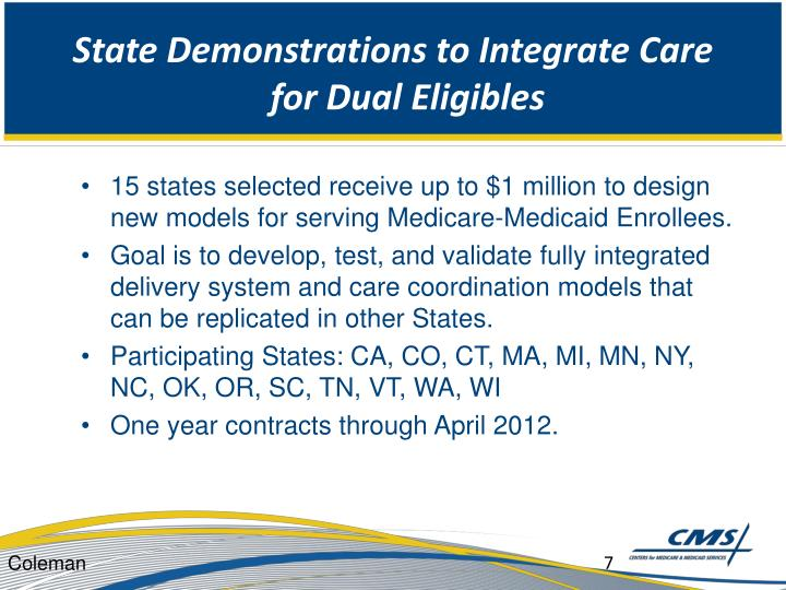 State Demonstrations to Integrate Care for Dual Eligibles