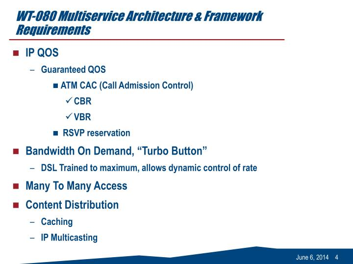 WT-080 Multiservice Architecture & Framework Requirements