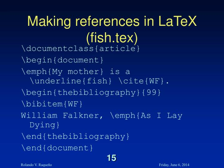 Making references in LaTeX