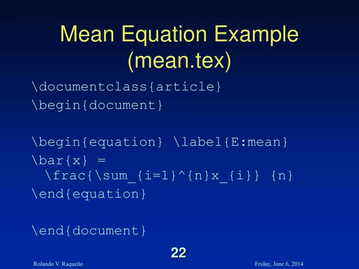 Mean Equation Example