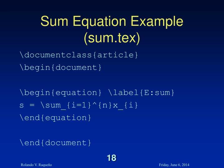 Sum Equation Example