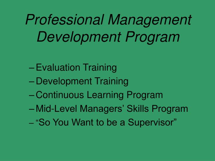 Professional Management Development Program