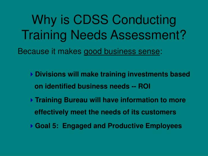 Why is CDSS Conducting Training Needs Assessment?