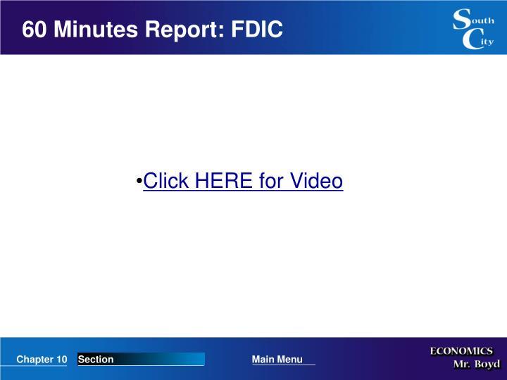 60 Minutes Report: FDIC
