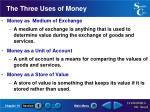 the three uses of money