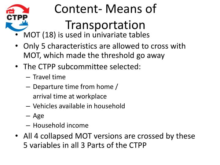 Content- Means of Transportation