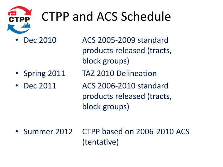 CTPP and ACS Schedule