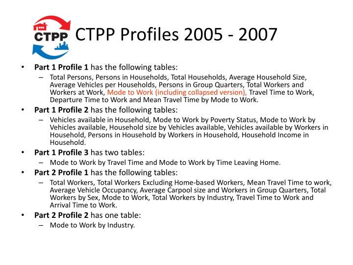 CTPP Profiles 2005 - 2007