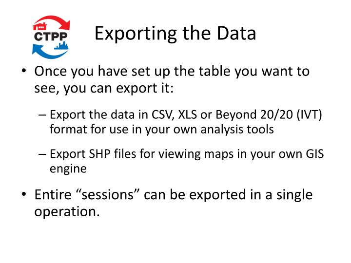 Exporting the Data