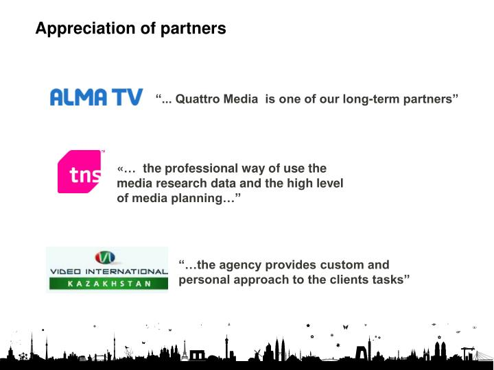 Appreciation of partners