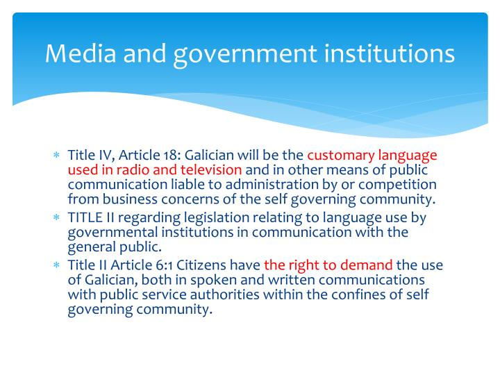 Media and government institutions