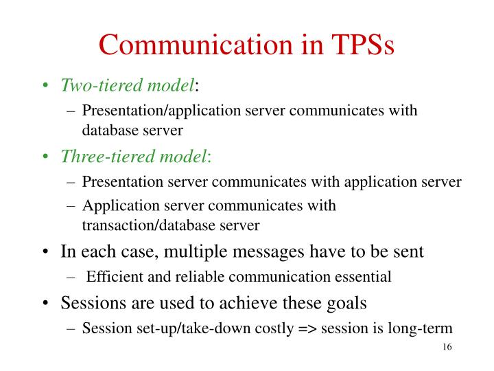 Communication in TPSs