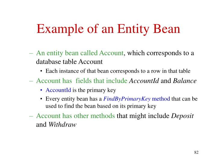 Example of an Entity Bean