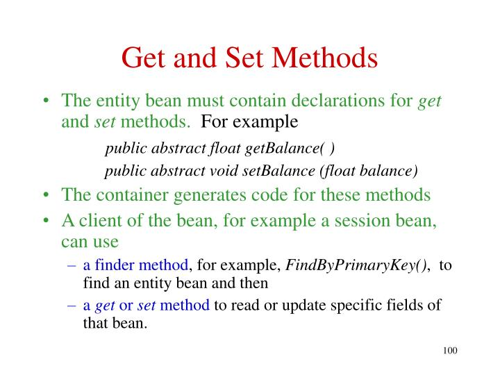 Get and Set Methods