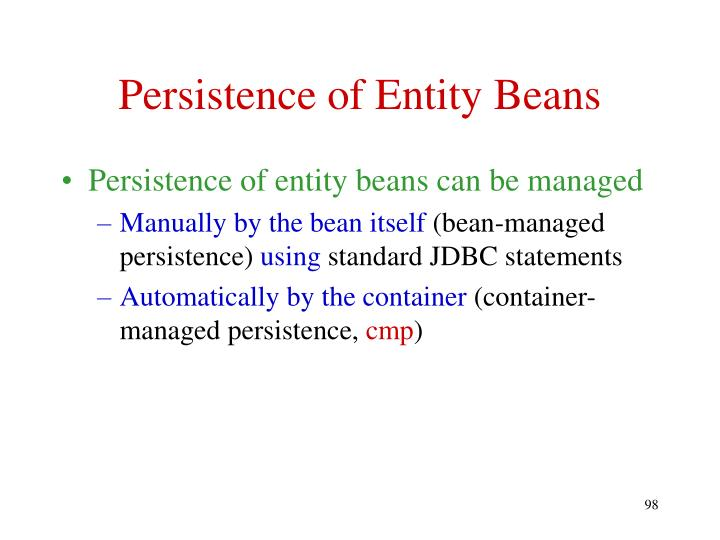 Persistence of Entity Beans