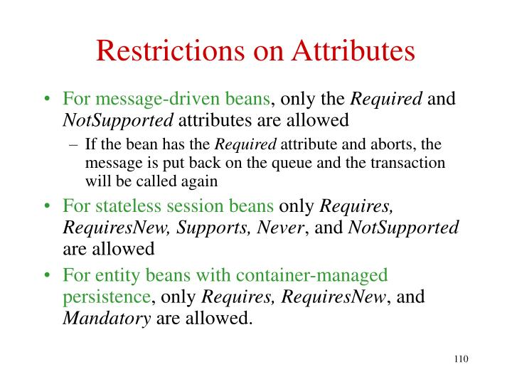 Restrictions on Attributes