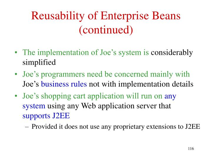 Reusability of Enterprise Beans (continued)