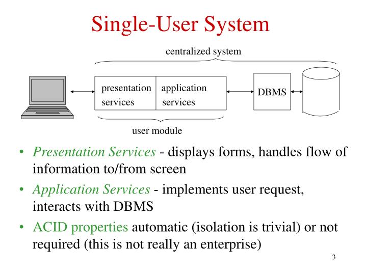 Single user system