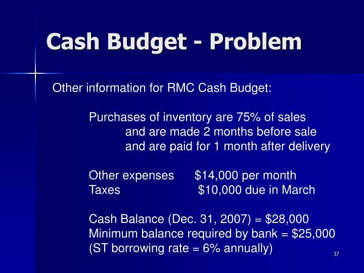 Cash Budget - Problem