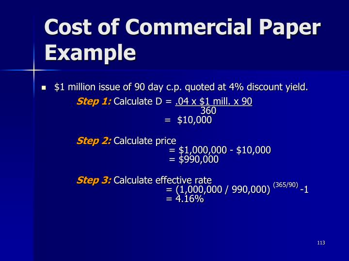 Cost of Commercial Paper Example