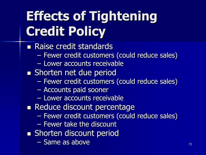 Effects of Tightening Credit Policy