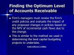 finding the optimum level of accounts receivable