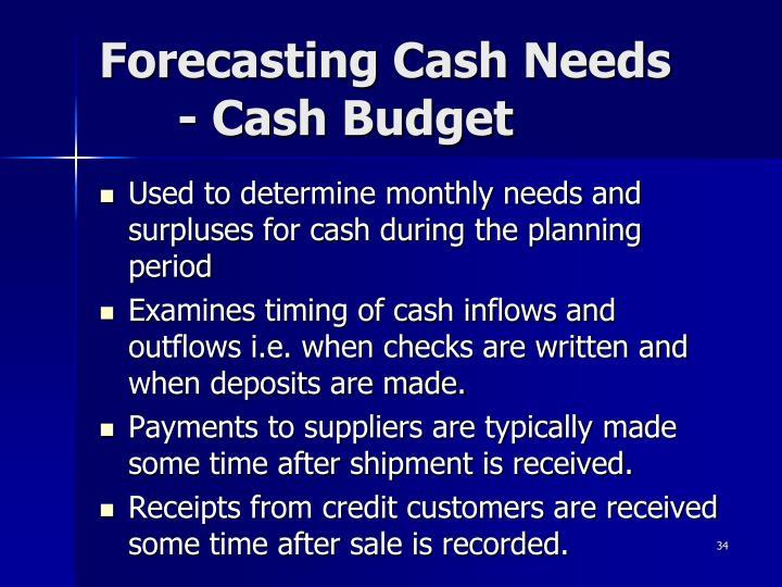 Forecasting Cash Needs