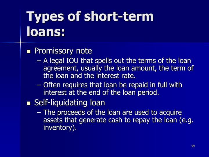 Types of short-term loans: