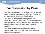 for discussion by panel