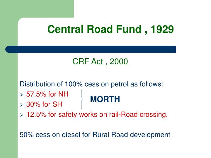 Central Road Fund , 1929