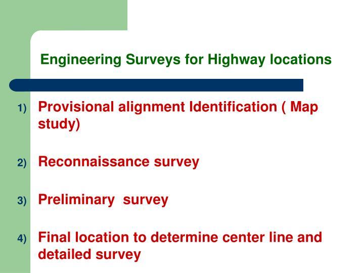 Engineering Surveys for Highway locations