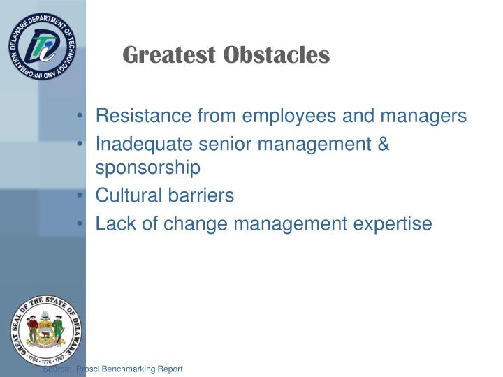 Greatest Obstacles