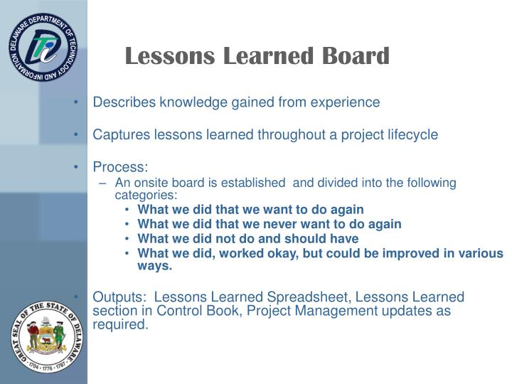 Lessons Learned Board