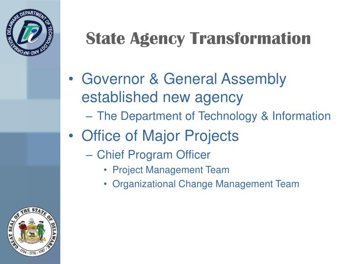 State Agency Transformation