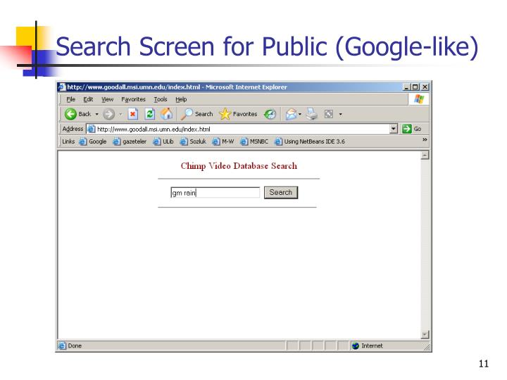 Search Screen for Public (Google-like)