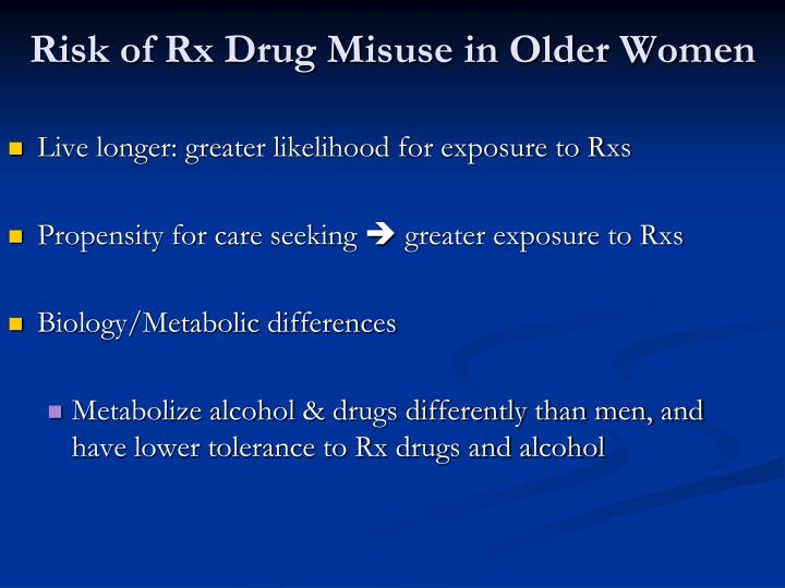 Risk of Rx Drug Misuse in Older Women