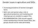 gender issues in agriculture and shgs