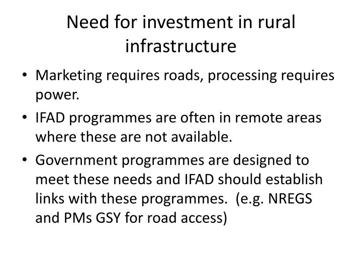 Need for investment in rural infrastructure