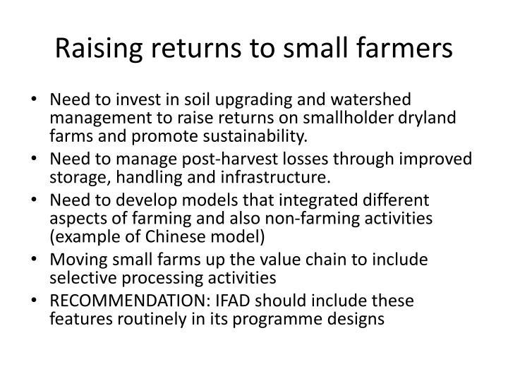 Raising returns to small farmers