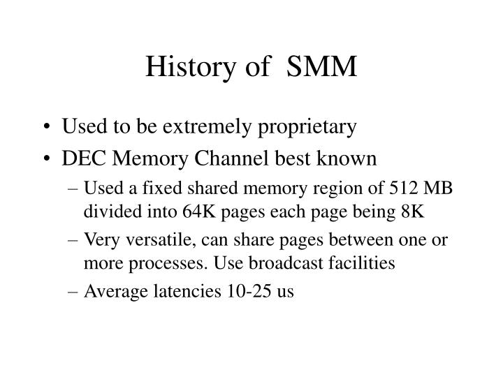 History of  SMM
