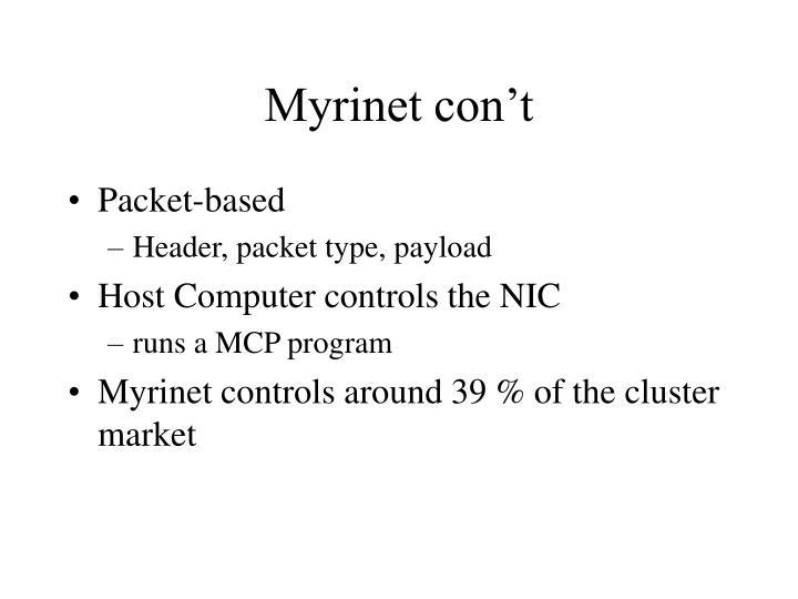 Myrinet con't