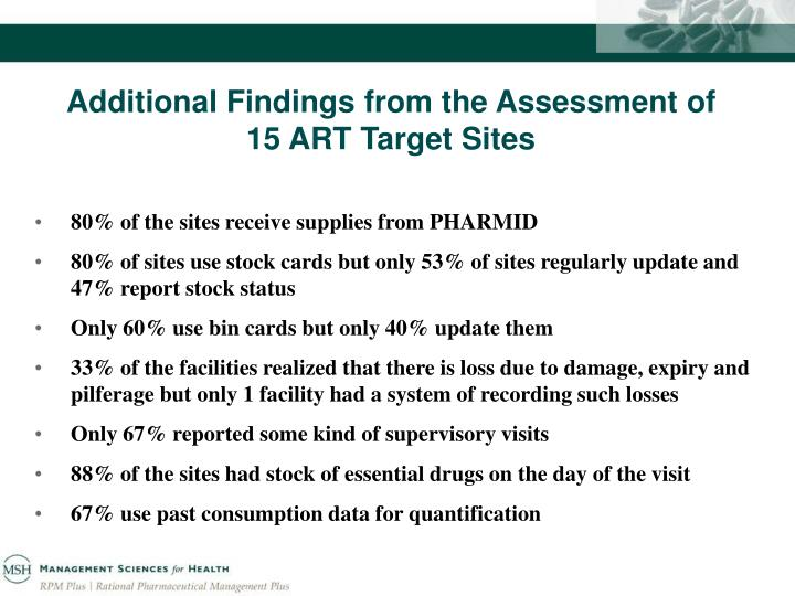 Additional Findings from the Assessment of 15 ART Target Sites