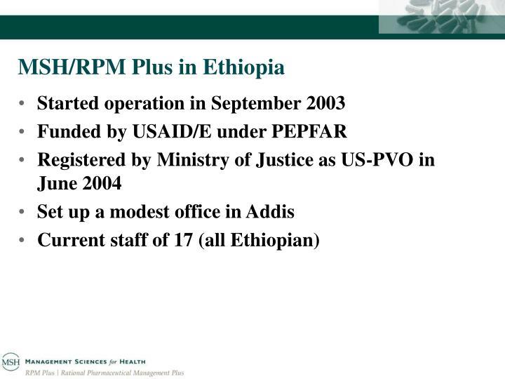 MSH/RPM Plus in Ethiopia