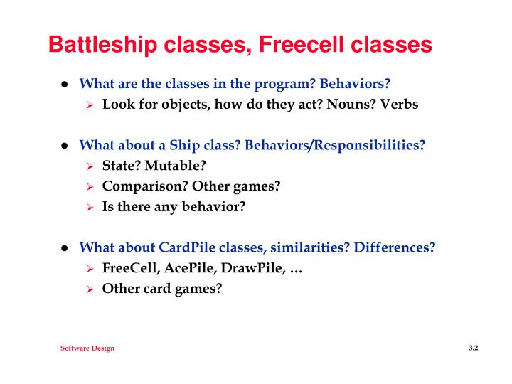 Battleship classes freecell classes