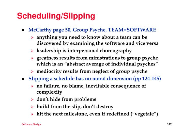 Scheduling/Slipping